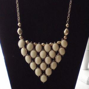 Vtg Ivory & Gold Statement Necklace. Sturdy!